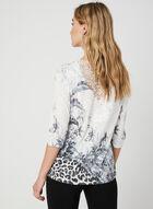 T-shirt floral et strass à détail crochet, Noir