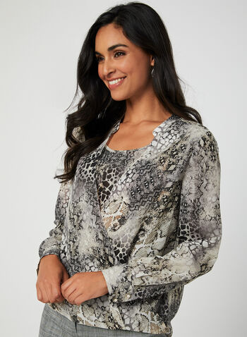 Snake Print Chiffon Blouse, Brown,  long sleeves, snake print, snakeskin, faux wrap, chiffon, fall 2019, winter 2019