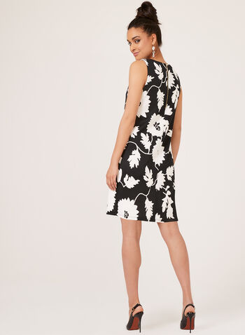 Floral Print A-Line Dress, Black, hi-res