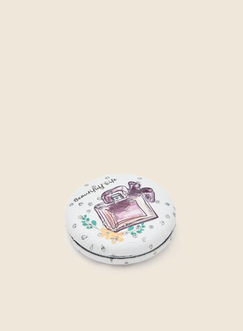 Perfume Print Compact Mirror, Pink,  accessories, mirror, compact, print, gift, holiday 2020, holiday, fall winter 2020