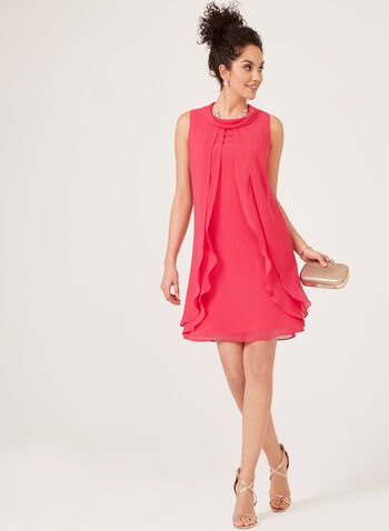A-Line Chiffon Shift Dress, Pink, hi-res