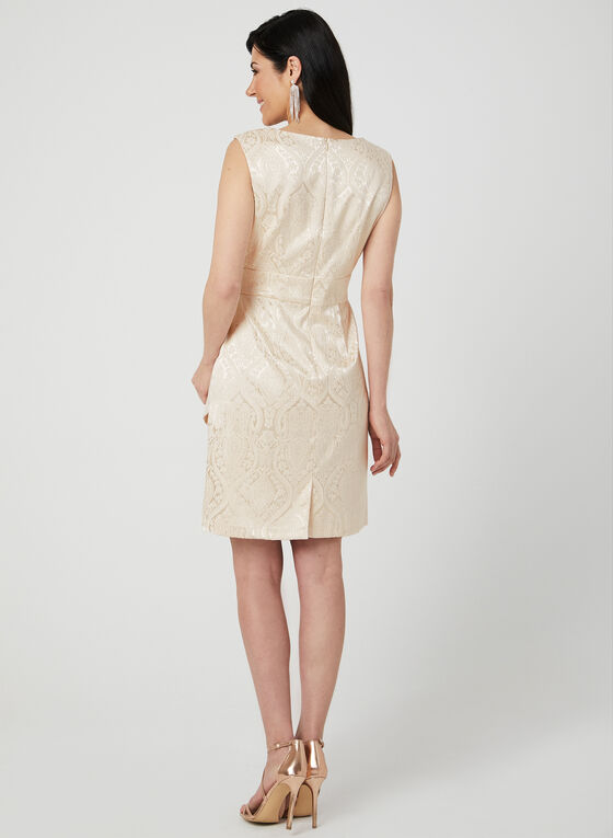 Tiered Brocade Dress, Gold, hi-res