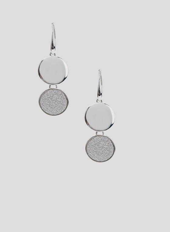 Boucles d'oreilles à pendants disques, Argent, hi-res