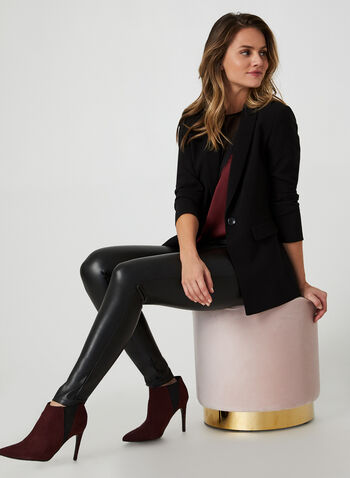 Faux Leather Leggings, Black, hi-res,  leggings, faux leather, pull on, slim leg, fall 2019, winter 2019