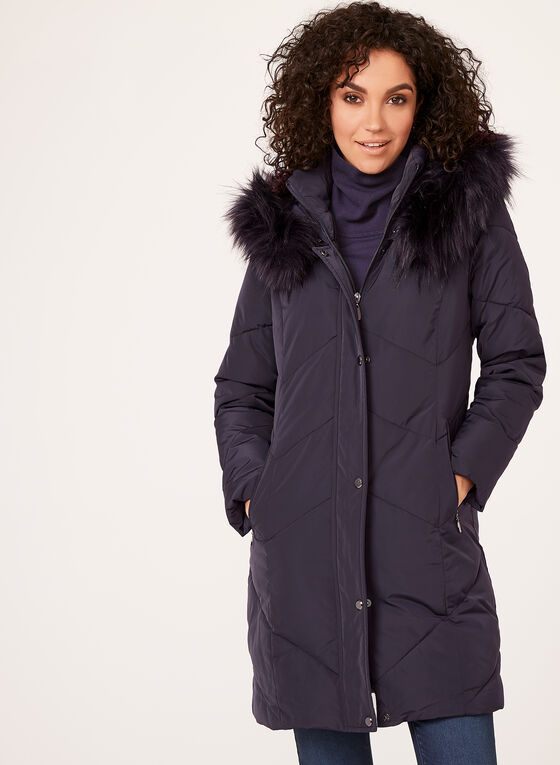 Hooded Faux Down Coat, Purple, hi-res