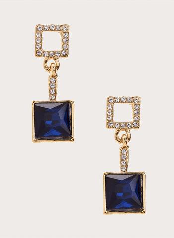 Dangle Square Earrings , Blue, hi-res
