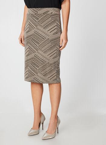 Jupe ajustée métallisée, Blanc, hi-res,  métallique, brillant, jupe crayon, jupe droite, automne hiver 2019, taille pull-on, à enfiler, taille élastique