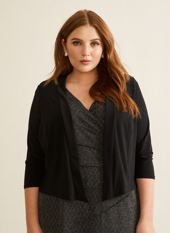 Open Front Bolero, Black,  spring summer 2020, 3/4 sleeves, jersey fabric, open front