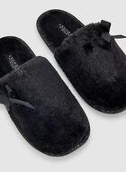 Pantoufles ouvertes à détail nœud, Noir