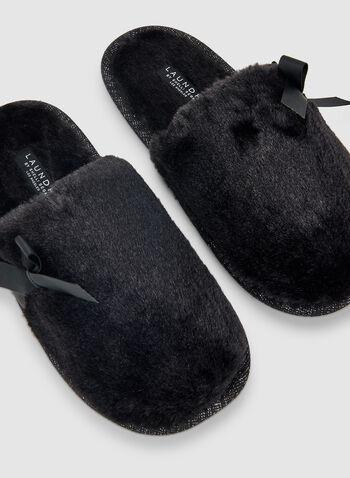 Bow Detail Slippers, Black, hi-res,  sleepwear, slippers, fall 2019, winter 2019