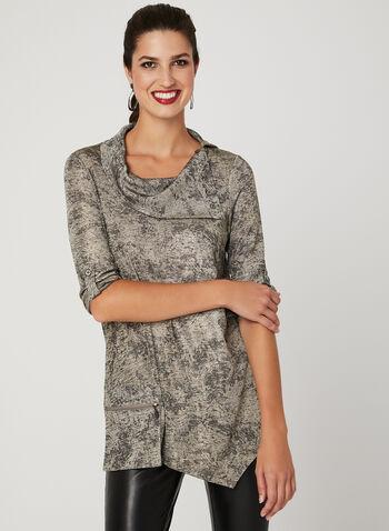 Picadilly - Haut tunique en tricot métallisé , Or, hi-res