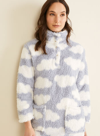 Karmilla Lingerie - Chemise de nuit en peluche, Bleu,  pyjama, chemise de nuit, col montant, peluche, nuages, poches, boutons-pression, automne hiver 2019