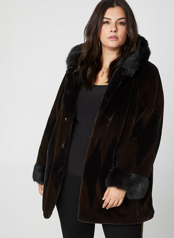 Nuage - Two Tone Faux Fur Coat, Black, hi-res,  coat, faux fur coat, faux fur, hood, winter coat, fall 2019, winter 2019