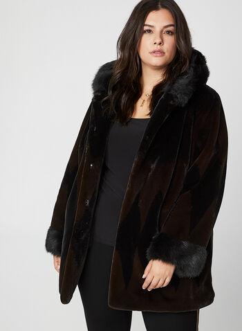 Nuage - Manteau en fausse fourrure, Noir, hi-res,  manteau, capuchon, fausse fourrure, bouton, crochet, poches, automne hiver 2019