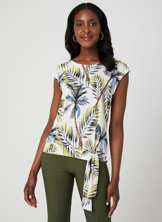 Palm Print Tie Detail Top, Green, hi-res