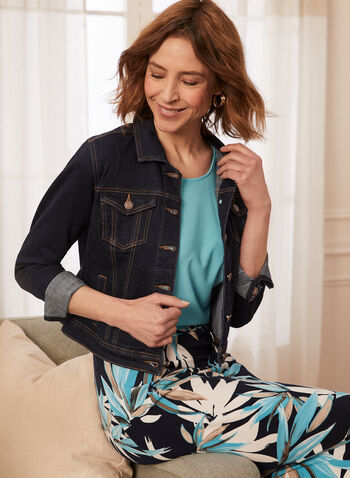 Button Front Denim Jacket, Blue,  jacket, denim, button front, shirt collar, pockets, spring summer 2020