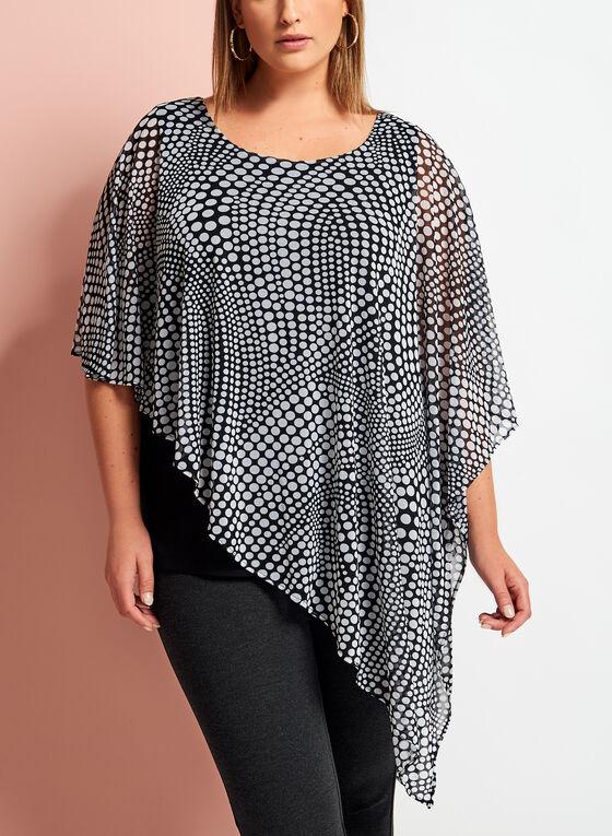 Dot Print Asymmetric Poncho Top, Black, hi-res