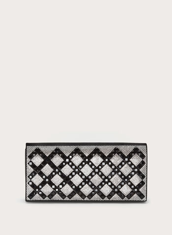Rhinestone & Crystal Encrusted Clutch, Black, hi-res
