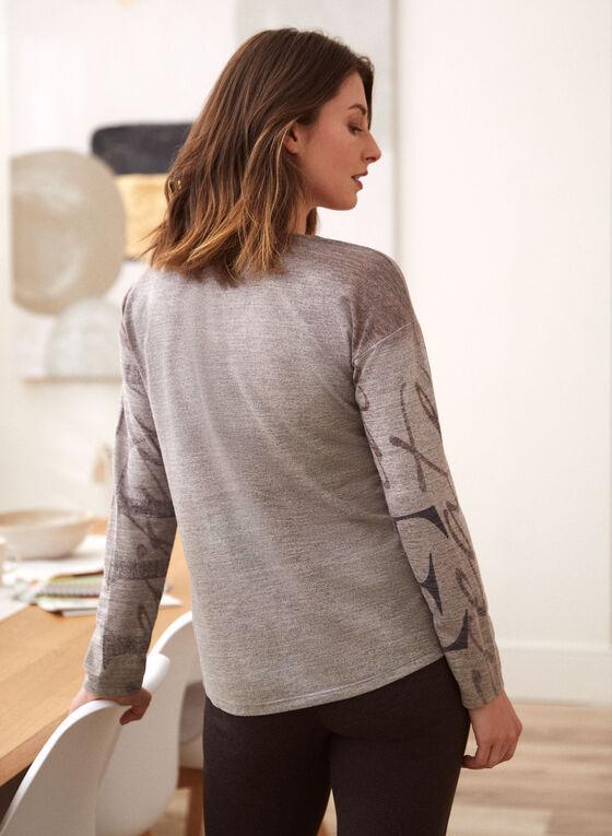 Text Print Sweater, Grey