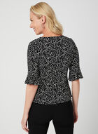 Leaf Print Bell Sleeve Top, Black, hi-res