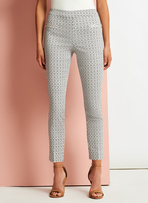 Geometric Print Slim Leg Pants, White, hi-res