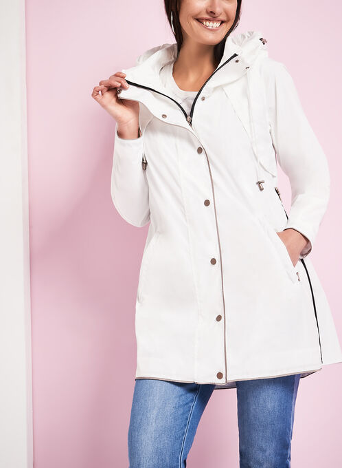 Nuage Hooded Contrast Rain Coat, White, hi-res