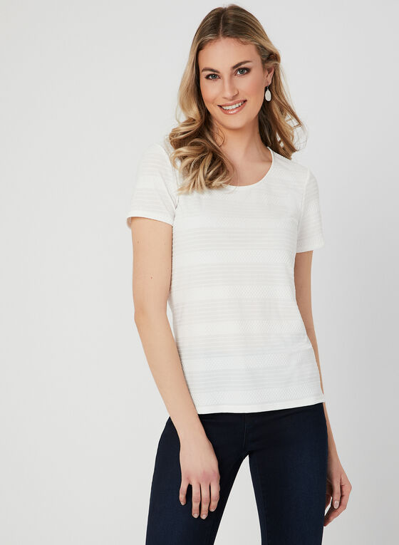 Textured Short Sleeve Top, Off White, hi-res