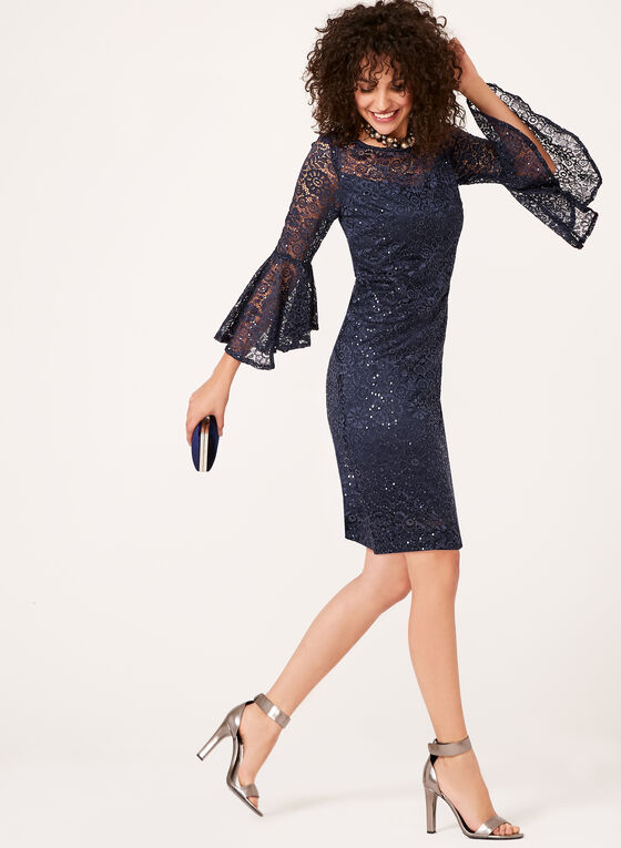 Sequin Lace Bell Sleeve Dress, Blue, hi-res