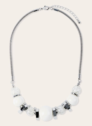Snake Chain Bead Detail Necklace, White, hi-res