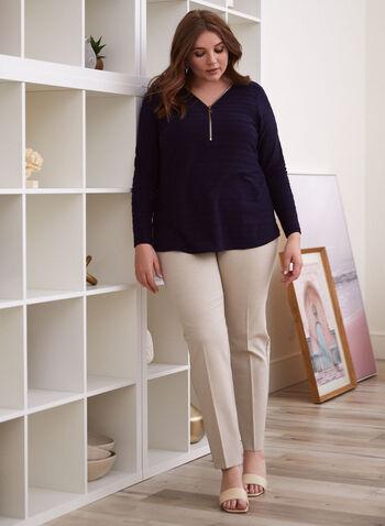 Pantalon coupe cité à jambe droite, Blanc cassé,  pantalon, cité, jambe droite, pinces, printemps été 2020