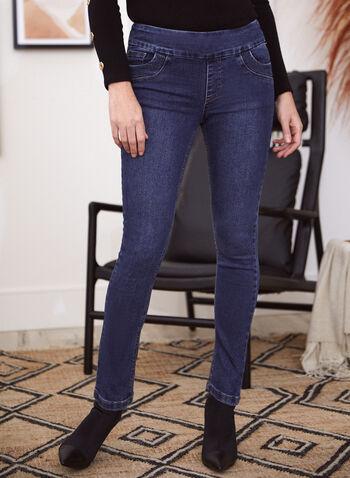 Rhinestone Detail Pull-On Jeans, Blue,  fall winter 2021, fall 2021, GG jeans, denim, jeans, pants, pull-on, elastic waist, slim leg, 5 pockets, rhinestone, stud, pockets, stretch denim