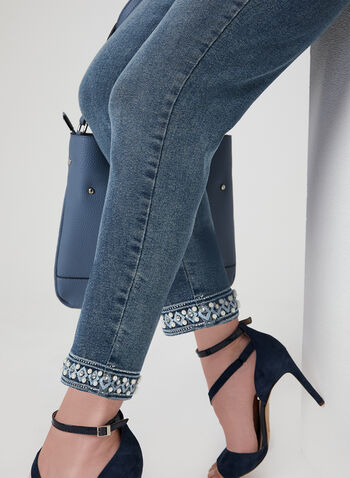 GG Jeans - Embroidered Pearl Detail Ankle Jeans, Blue, hi-res,  Dressy jeans, embroidered jeans, ankle pants, denim pants, ankle lenght, spring 2019, summer 2019, crystal detail, pearl detail