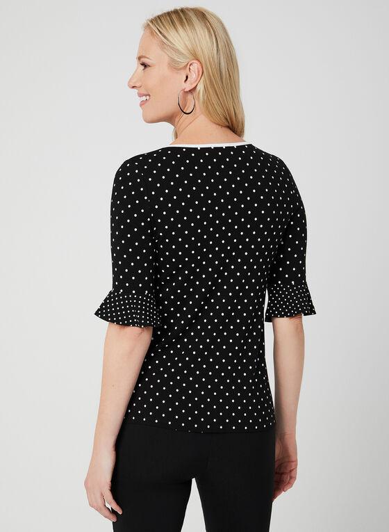 Polka Dot Print Top, Black