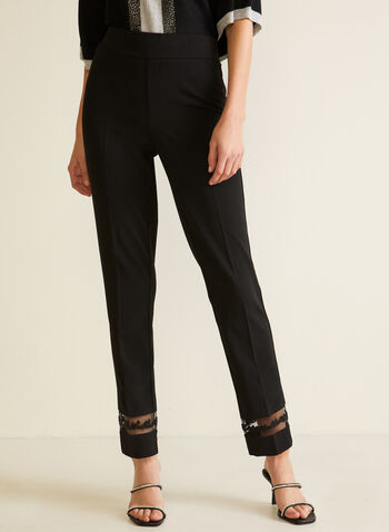 Straight Leg Mesh Detail Pants, Black,  pants, straight leg, mesh, embellished, 7/8, pull-on, pleats, crepe, fall winter 2020