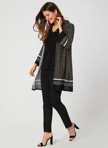 Geometric Print Jersey Duster, Black,  jersey, ¾ sleeves, 3/4 sleeves, open front, fall 2019, winter 2019, cover up