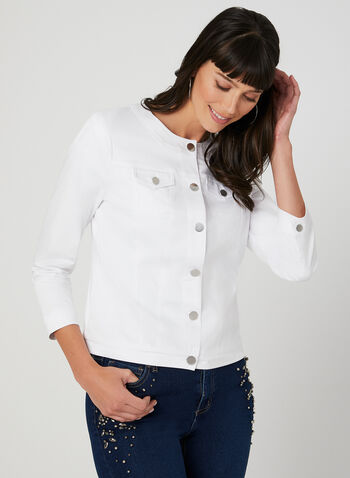 Cotton Blend Jacket, White, hi-res,  sateen, ¾ sleeves, 3/4 sleeves, spring 2019