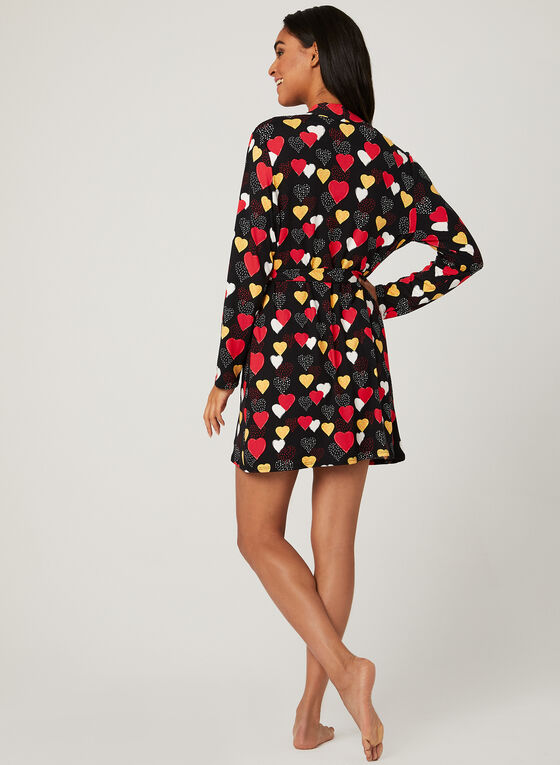 Heart Print Pyjama & Robe Set, Red, hi-res