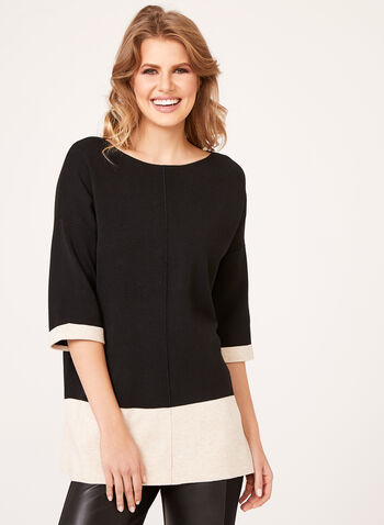 Colour Block Elbow Sleeve Sweater, Black, hi-res