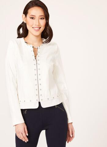 Veste zippée à aspect cuir et œillets métalliques, Blanc cassé, hi-res
