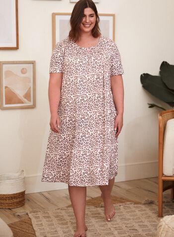 Animal Print Nightgown, Off White,  spring summer 2021, nightgown, nightshirt, made in Canada, sleepwear, pj, pyjama, animal print, round collar, short sleeve