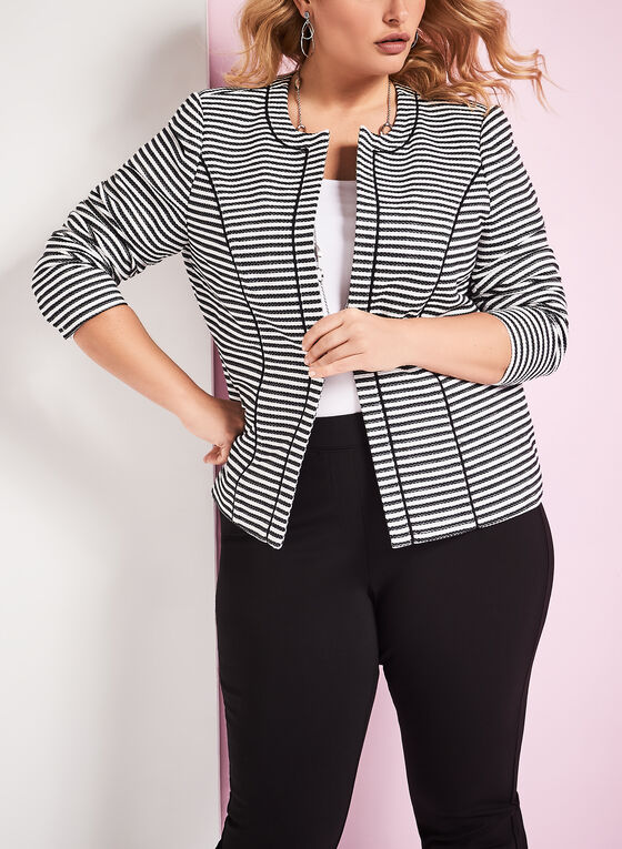 Stripe Print Open Front Jacket, Blue, hi-res