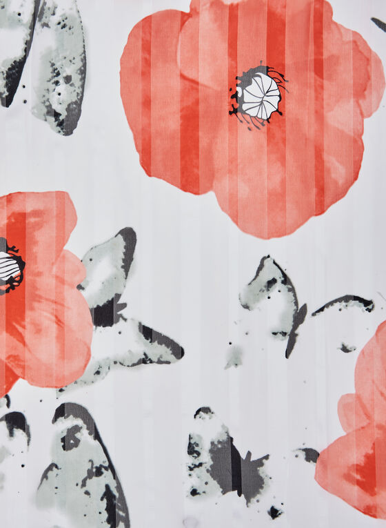 Floral Print Scarf, Red