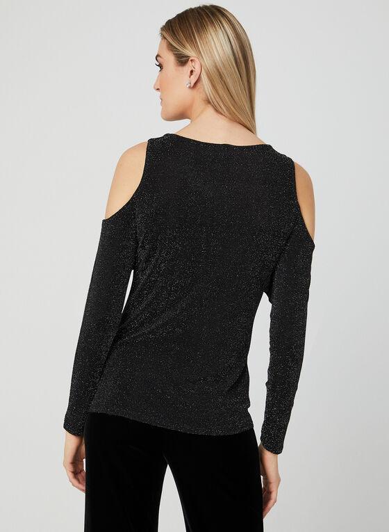 Cold Shoulder Glitter Top, Black, hi-res