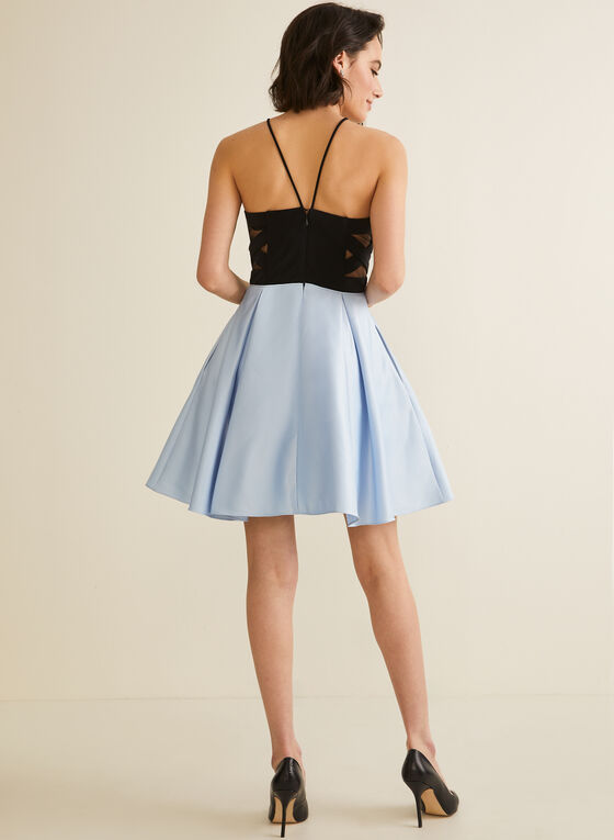 Mesh Detail Two-Tone Dress, Black