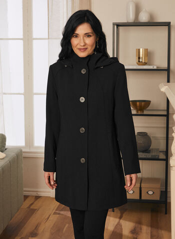 Portrait - Hooded A-Line Coat, Black,  spring summer 2020, raincoat, trench, crepe, hood, buttons