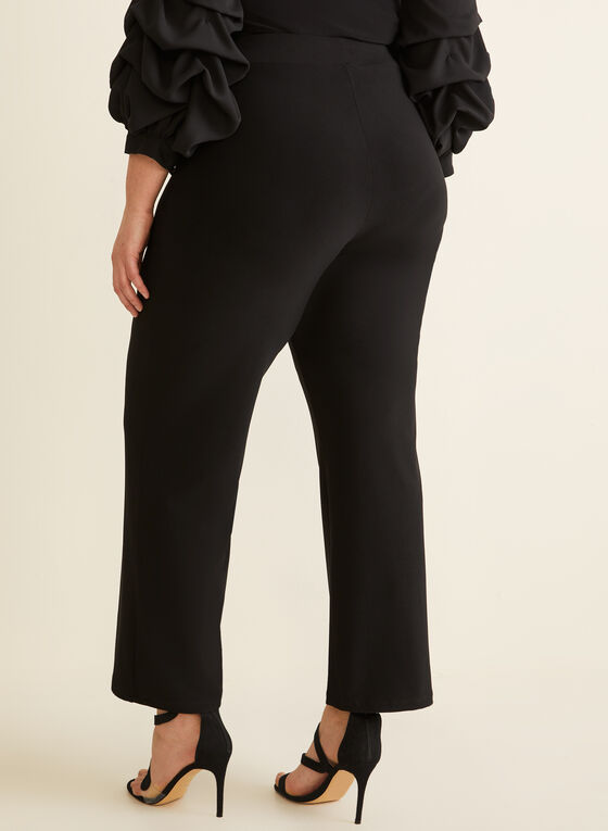 Pantalon pull-on à jambe large en jersey, Noir