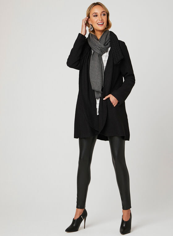 Knit Collar Wool Coat, Black, hi-res