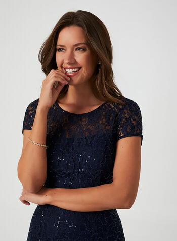 Sequined Lace Fit & Flare Dress, Blue,  cocktail dress, dress, sequins, lace, fit and flare, zipper, fall 2019, winter 2019