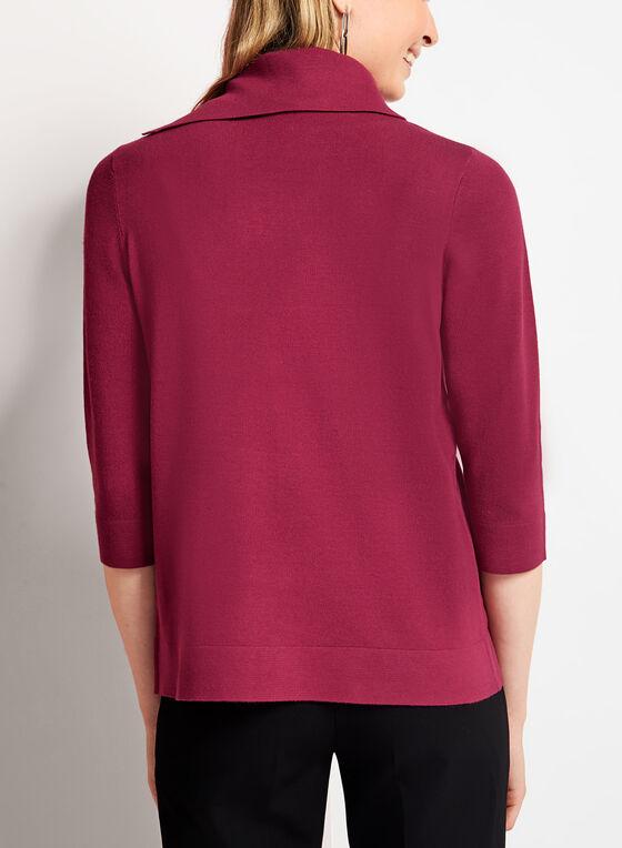 Pull court en tricot à col roulé fendu, Rouge, hi-res