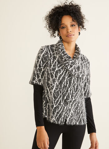 Long Sleeve Jacquard Top, Black,  Canada, top, jacquard, abstract, long sleeves, fall 2019, winter 2019